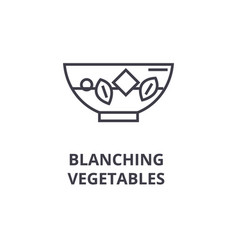 Blanching vegetables line icon outline sign vector