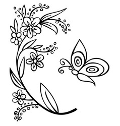 Branch flower and butterfly vector