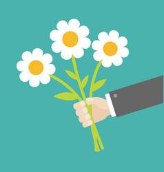 Businessman hand holding bouquet of white daisy vector