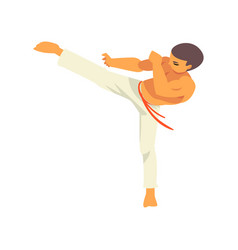 Capoeira dancer character doing powerful kick vector