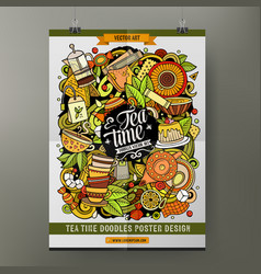 cartoon hand drawn doodles tea poster vector image