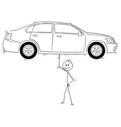 Cartoon of man or businessman balancing car on vector