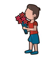 cartoon son boy with flowers bunch vector image