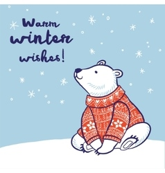 Christmas card of polar bear in red sweater vector