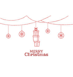 christmas ornaments hanging with stack gift box vector image vector image
