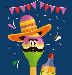cinco de mayo maraca character with tequila bottle vector image