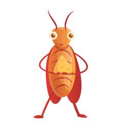 Cockroach eat cheese icon cartoon style vector
