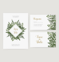 Collection of romantic wedding invitation save vector