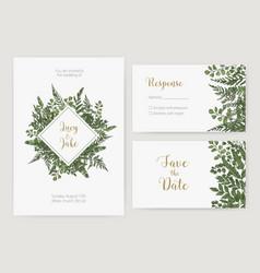 collection romantic wedding invitation save vector image