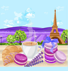 Cup of coffee with croissants and macaroons french vector