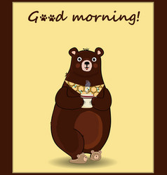 cute cartoon bear in slippers and necktie holding vector image