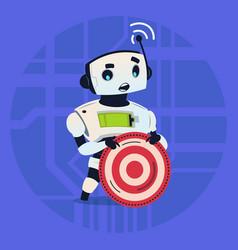 Cute robot holding taget aim modern artificial vector