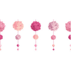 Dangling pink birthday party paper pom poms vector