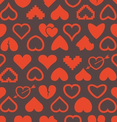 Different abstract heart icons seamless background vector image