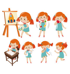 Different actions of little girl in blue vector
