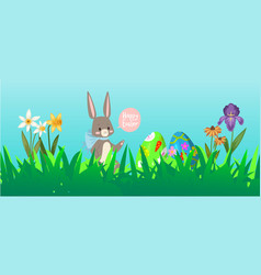 easter rabbit background with cute bunnies baby vector image