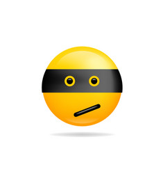 emoji smile icon symbol ninja smiley face yellow vector image
