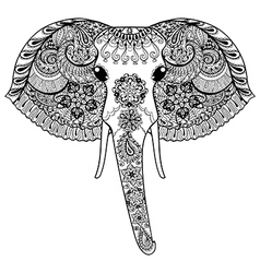 entangle stylized indian elephant hand drawn vector image