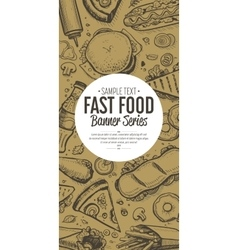 Fast food doodles vertical banner menu vector