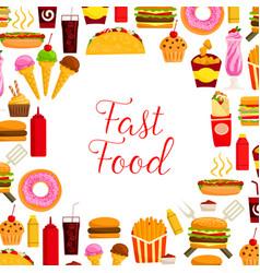 Fast food restaurant lunch poster for menu design vector