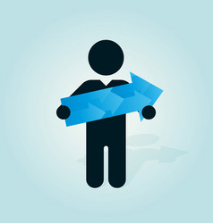 figure man holds blue arrow vector image