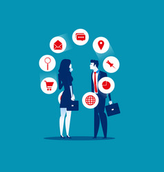 flat character teamwork business team looking and vector image