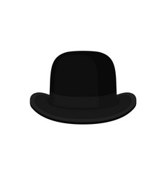 Flat of classic black bowler or derby hat vector