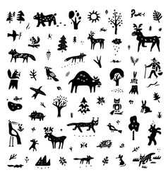 Forest animals nature doodle icon set desisn vector