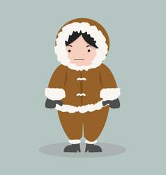 Funny eskimo girl in flat design vector