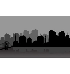 Gray silhouette city vector image