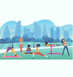 Group of women doing yoga in the park with modern vector