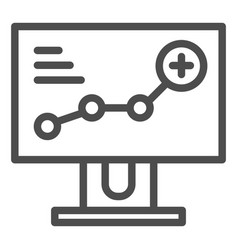 growth chart on monitor line icon diagram on vector image
