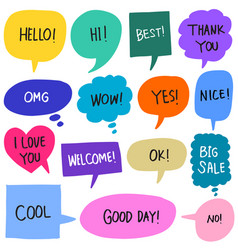 hand drawn set colorful speech bubbles vector image