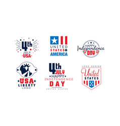 Happy independence day labels collection united vector