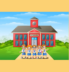 happy school children in front of school building vector image