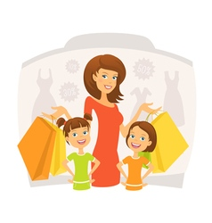 Happy woman with kids on shopping vector