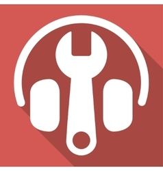 Headphones Tuning Long Shadow Square Icon vector image