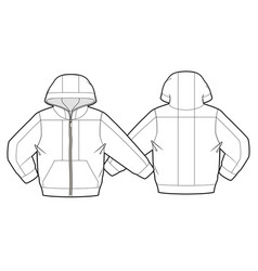 hooded jacket with zipper closure vector image