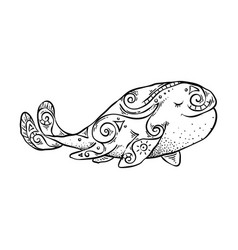ink hand-painted tribal whale vector image