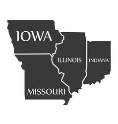 Iowa - missouri - illinois - indiana map labelled vector