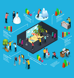 isometric photography infographic concept vector image