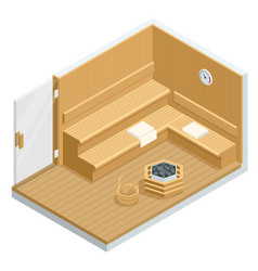 isometric sauna interior finnish sauna classic vector image