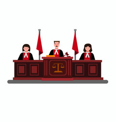 Judge in courtroom judical cort flat vector