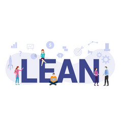 Lean workflow management concept with big word or vector
