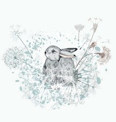 lovely little rabbit with dandelions vector image