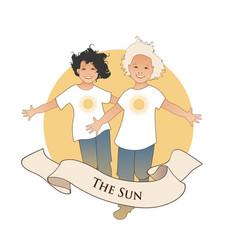 Major arcana emblem tarot card the sun two happy vector