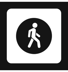Man on a pedestrian crossing icon simple style vector