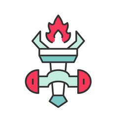medieval burning torch color icon vector image