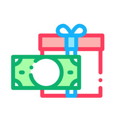 money currency gift icon outline vector image