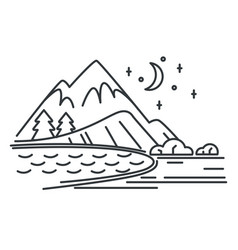 mountains and river or lake night outline vector image